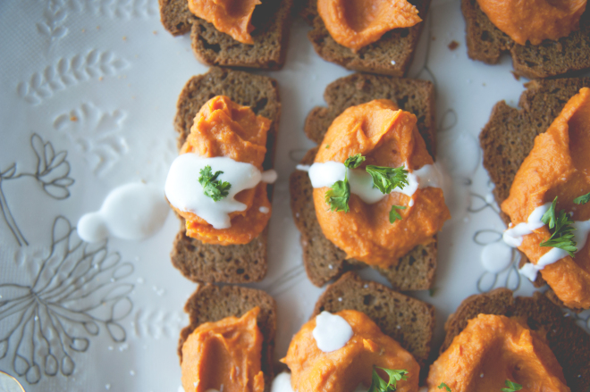 Turmeric Yam Coconut Crostini // Sweet Laurel