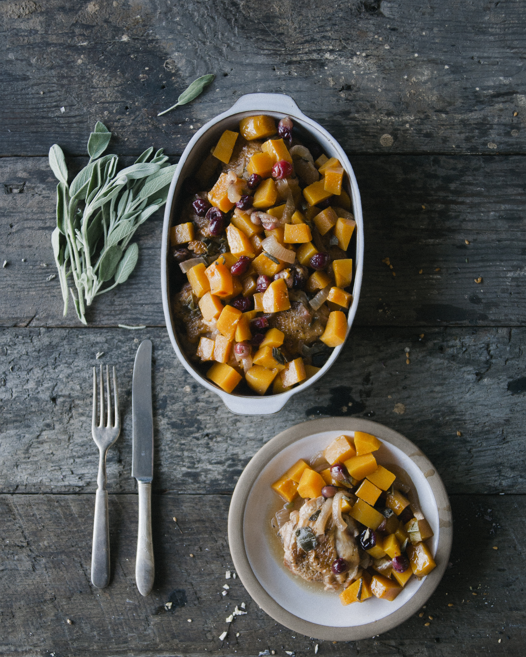 Braised Chicken with Cranberries and Butternut Squash \ Sweet Laurel