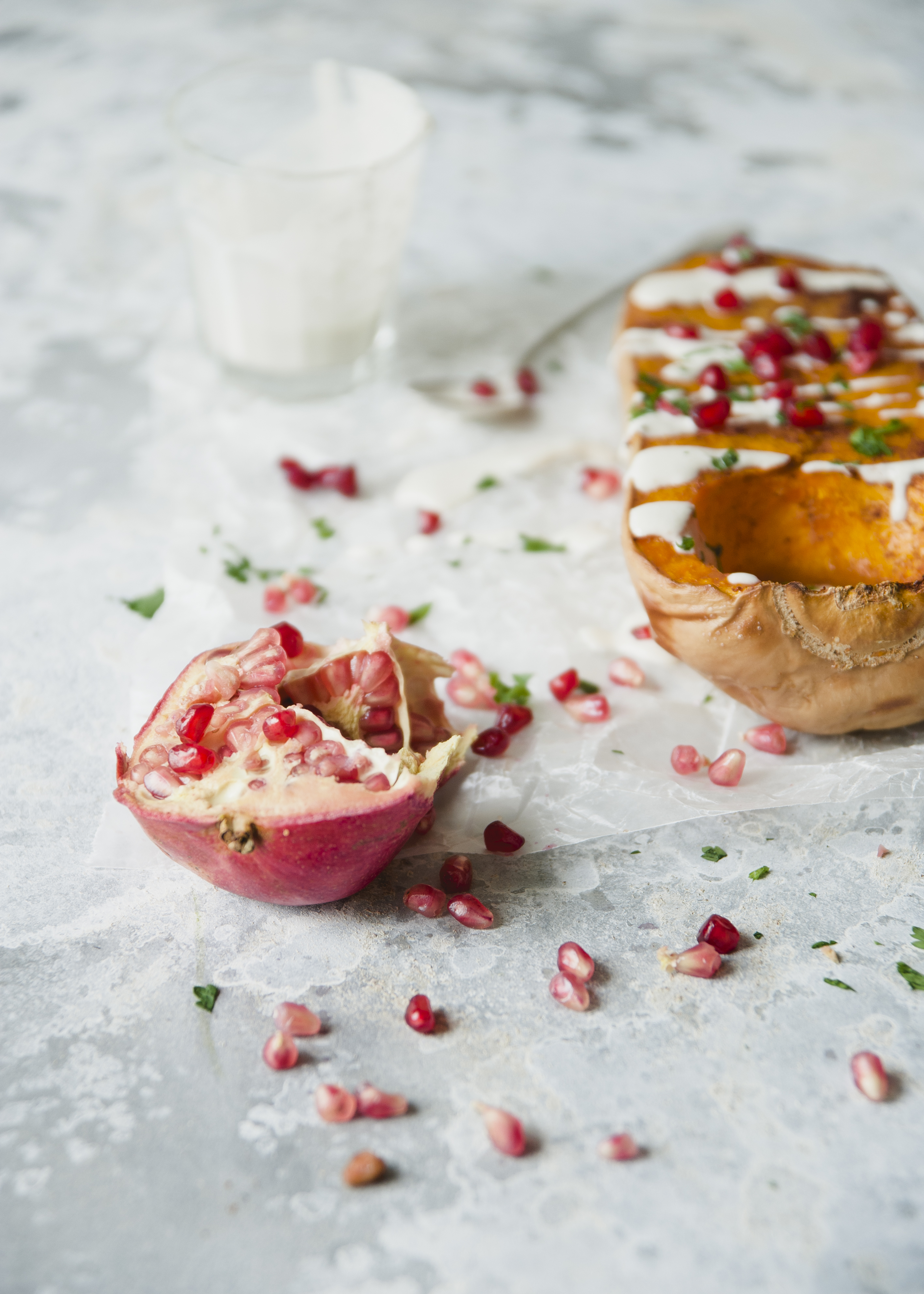 Maple Roasted Butternut Squash with Cashew Creme and Pomegranate \ Sweet Laurel